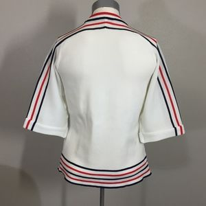 Vintage Sweaters - Vintage 60s white striped mod crewneck sweater